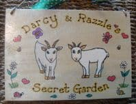 GOAT GARDEN FARM SHED OR WALL SIGN ANY COLOUR OR BREED WOODEN PERSONALISED ORDER 8 X 6 RECTANGLE